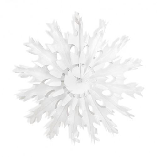 Λευκή Χιονονιφάδα Ροζέτα Βεντάλια PartyDeco