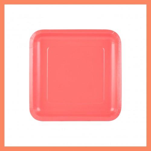 Κοραλί Τετράγωνα Χάρτινα πιάτα (16-pack)-Unique