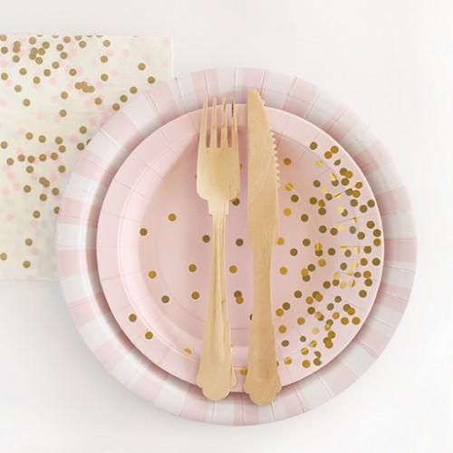 Gold Confetti Plates-Πιάτα Γλυκού Ροζ Με Χρυσό Κομφετί (12pcs)