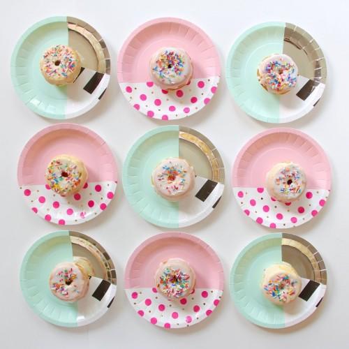 Στρογγυλά Πιάτα Γλυκού-Ροζ Mix & Match (8pcs)