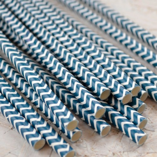 abcJoy Ναυτικό Μπλε chevron χάρτινα καλαμάκια (25-pack)