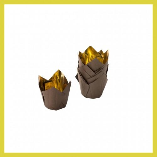 Καραμελόχαρτο Χρυσό Καφέ-Σχήμα Τουλίπας (28-Pack)
