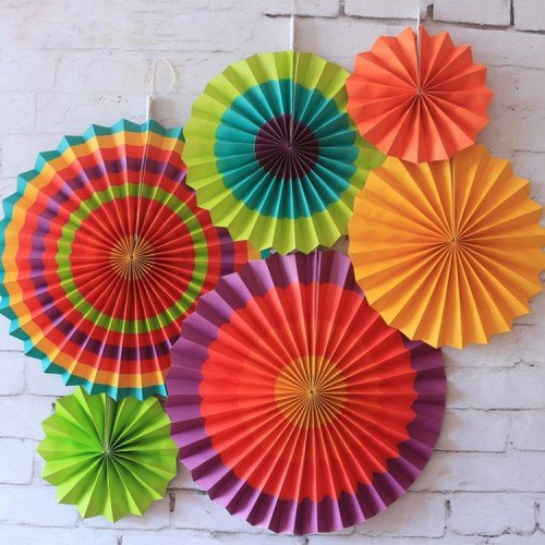 """Colour Fiesta""- Paper Fans Set of 6pcs AbcJoy"