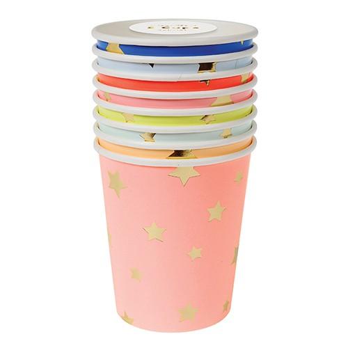 Jazzy Star Cups-Χάρτινα Χρωματιστά Ποτήρια Με Αστέρια(8pcs)-Meri Meri