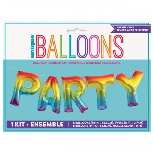 Μεταλλικά Πολύχρωμα Μπαλόνια Party Rainbow Balloons Banner Kit