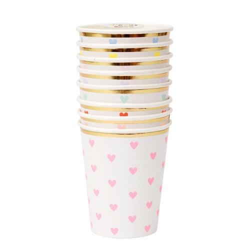 Ποτήρια Με Καρδιές Σε Χρώματα - Palette Heart Cups 8pcs Meri Meri