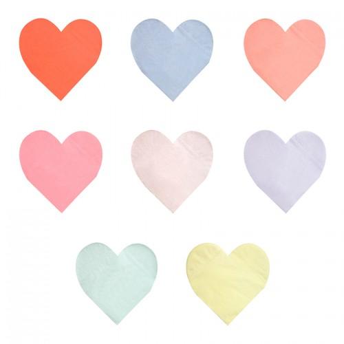 Χαρτοπετσέτες Χρωματιστές Καρδιές - Palette Heart Napkins 20pcs Meri Meri