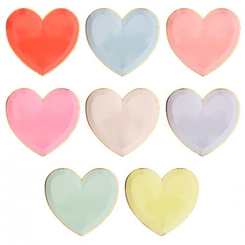 Πιάτα Φαγητού Χρωματιστές Καρδιές - Palette Heart Plates 8pcs Meri Meri