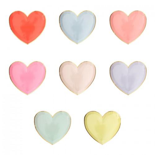 Πιάτα Γλυκού Χρωματιστές Καρδιές - Palette Heart Plates 8pcs Meri Meri