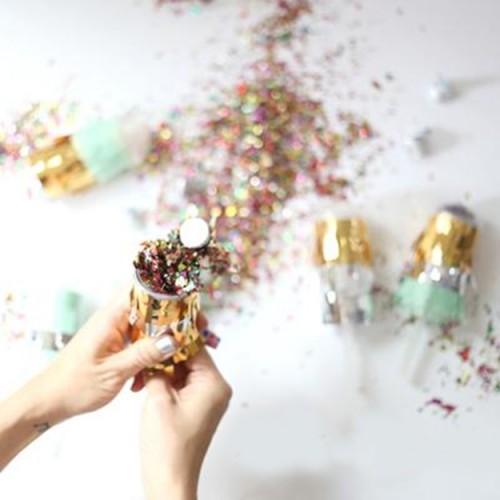 Confetti Popper-Mini Κανόνι Με Πολύχρωμο Μεταλλικό Κομφετί