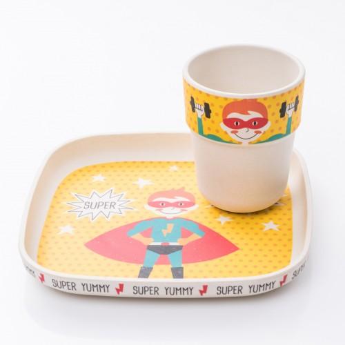 Bamboo Σετ Φαγητού Σούπερ Ήρωας - Παιδικό Πιάτο Και Ποτήρι