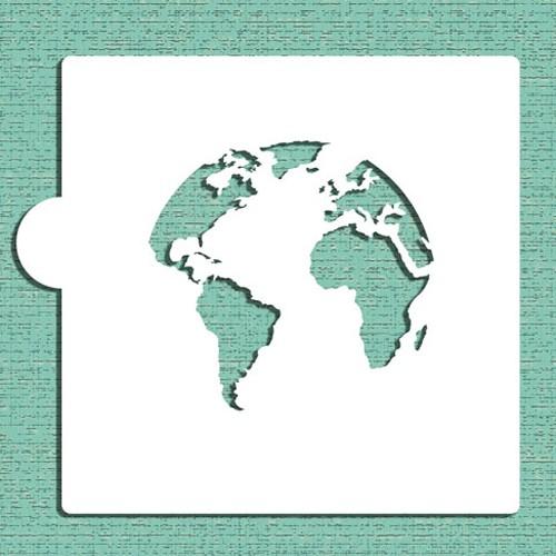World Map (Globe)  Stencils - Στένσιλ Χάρτης - Υδρόγειος Για Μπισκότα Ή Πλαϊνά Τούρτας  Designer Stencils