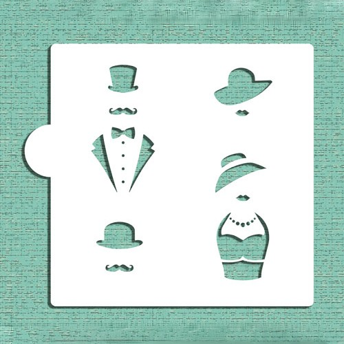 Vintage Mr & Mrs Cookie Stencils - Στένσιλ Για Μπισκότα  Ή Πλαϊνά Τούρτας Vintage Ζευγάρι Designer Stencils