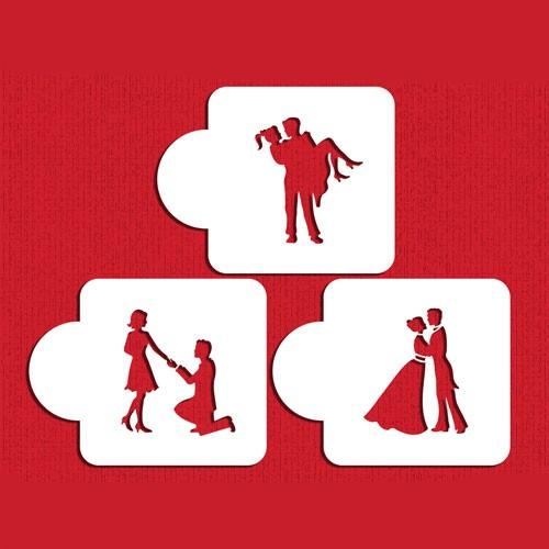 Love Wedding Stencils Set - Στένσιλ Για Τούρτα και Μπισκότα Γάμου (3pcs) Designer Stencils