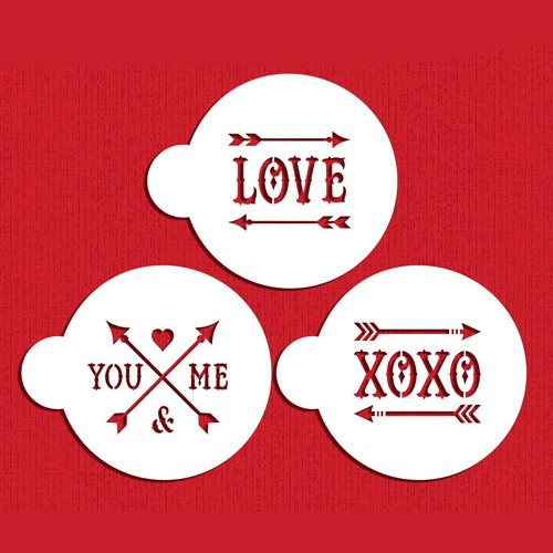 Love and Arrows Stencils-Στένσιλ Μπισκότου Σετ Έρωτας Και Βέλη (3pcs) Designer Stencils