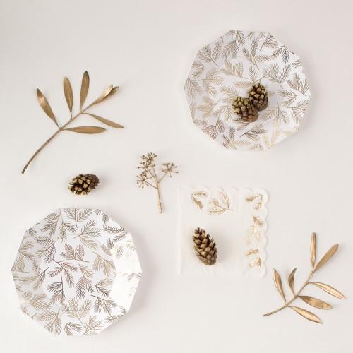 Gold Leaves Napkins-Χαρτοπετσέτες Με Χρυσά Φύλλα(16pcs)-Meri Meri