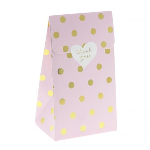 Πουά Ροζ Foil Σακουλάκια Xάρτινα Με Βάση (6-pack)