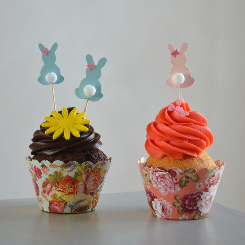 Cupcake Toppers Πασχαλινά Λαγουδάκια Hand Made by Ministry Of Art (8pcs)