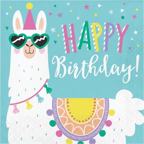 Χαρτοπετσέτες Λάμα Happy Birthday Llama Party