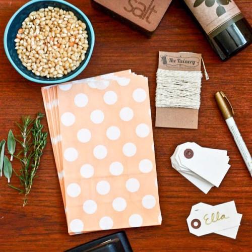 abcJoy πουά ροδακινί χάρτινες σακούλες-stand up bags (25-pack)