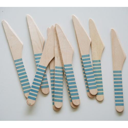 abcJoy πετρόλ ριγέ ξύλινα μαχαιράκια  (12-pack)