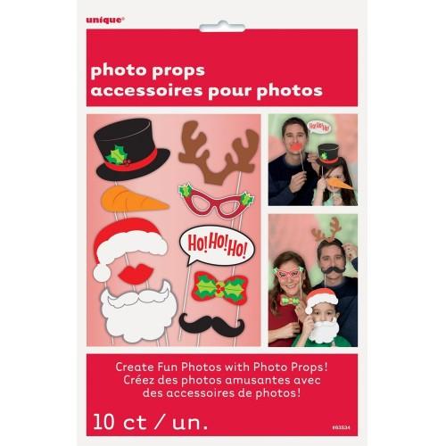 Χριστουγεννιάτικο Photo Booth Kit-10 props-ΗΟΗΟΗΟ!