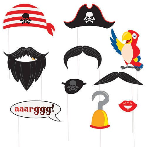 """Photo Booth Kit """"Pirate""""-10 party props για Πειρατές-Unique"""