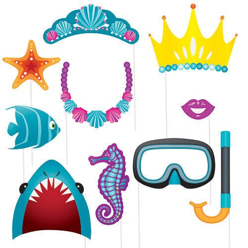 """Photo Booth Kit """"Under The Sea""""-10 party props-Unique"""