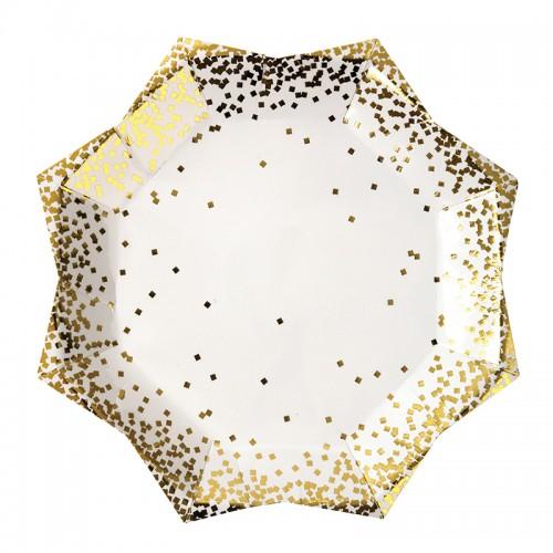 Gold Confetti Star Plates-Χάρτινα Πιάτα Με Χρυσό Κομφετί(8pcs)-Meri Meri