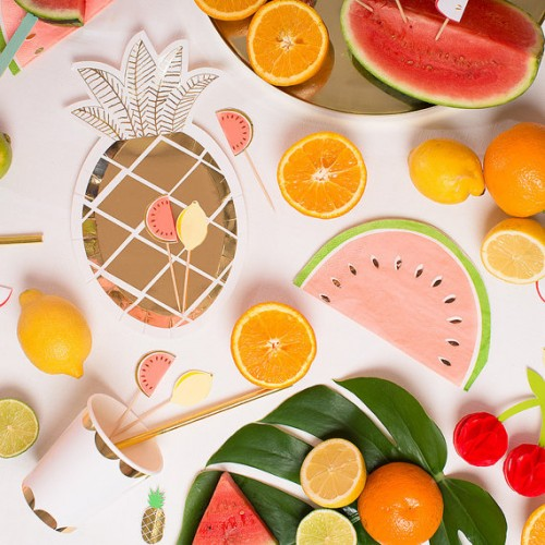 Pineapple Plates-Χάρτινα Χρυσά Πιάτα Ανανάς (8pcs)-Meri Meri