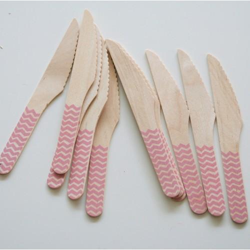abcJoy ροζ chevron ξύλινα μαχαιράκια  (12-pack)