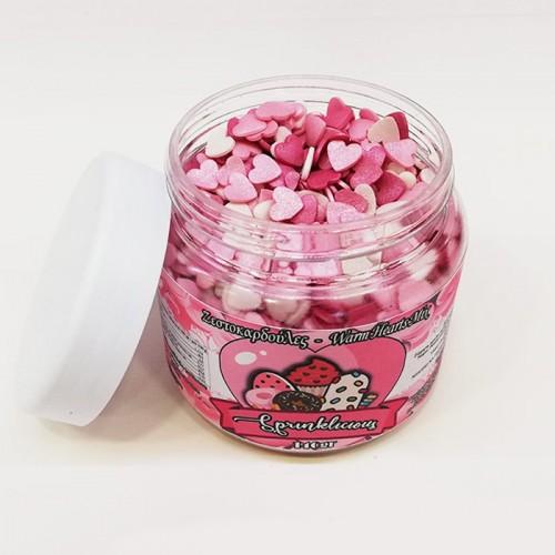 Sprinklicious Γυαλιστερές Καρδιές Λευκές-Ροζ-Φούξια Για Τούρτες και Cupcakes 140gr
