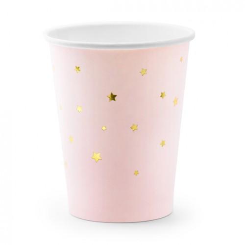 Χάρτινα Ποτήρια Ροζ Με Αστέρια Little Star PartyDeco