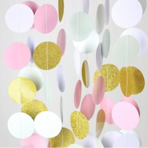 """abcJoy Χρυσή-Ροζ-Ιβουάρ Χάρτινη Γιρλάντα """"Pop Dots"""""""