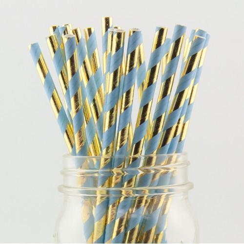 "abcJoy ""Blue&Gold Luxury"" χάρτινα καλαμάκια ριγέ σε Γαλάζιο-Χρυσό (25-pack)"