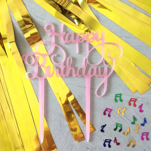 Happy Birthday Ροζ Plexiglass Τόπερ Τούρτας Γενεθλίων