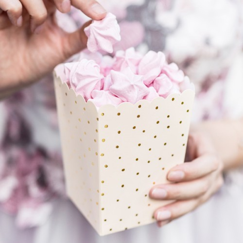 Χάρτινα Popcorn Boxes Σομόν Χρυσό Πουά-Κουτιά Για Ποπ Κορν και Γλυκά
