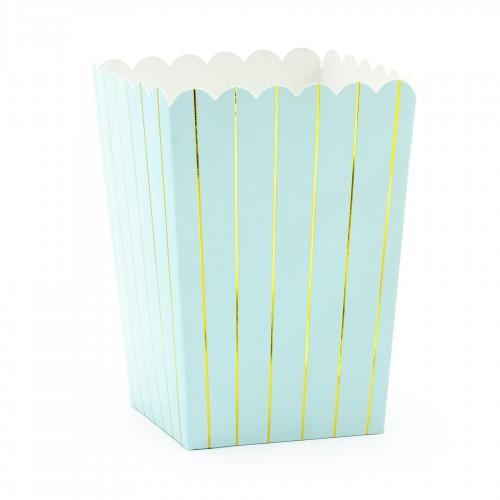 Χάρτινα Popcorn Boxes Γαλάζια Με Ρίγες Χρυσές-Κουτιά Για Ποπ Κορν και Γλυκά