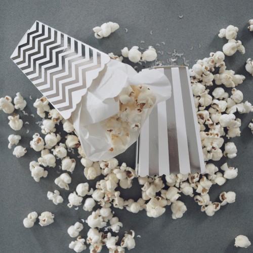 abcJoy chevron ασημί popcorn boxes (12-pack)