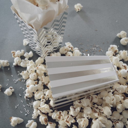abcJoy ριγέ ασημί popcorn boxes (12-pack)