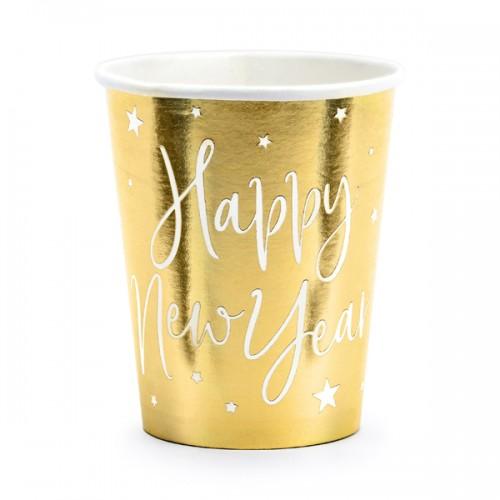 Χάρτινα Χρυσά Ποτήρια Happy New Year Cups PartyDeco