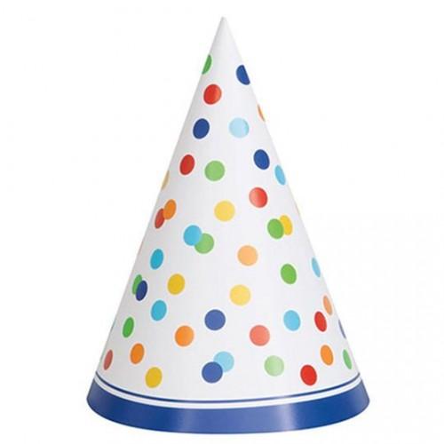 Χάρτινα Καπέλα Πουά Ουράνιο Τόξο (8pcs)