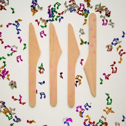 abcJoy ροζ πουά ξύλινα μαχαιράκια  (12-pack)