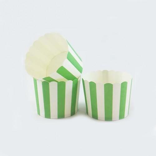 Θήκες Για Cupcakes Ριγέ Πράσινο 25pcs