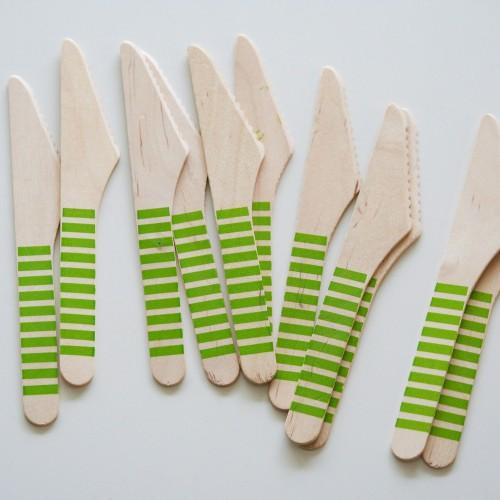 abcJoy πράσινα ριγέ ξύλινα μαχαιράκια  (12-pack)