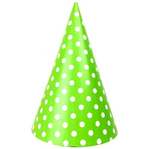 abcJoy πράσινα πουά χάρτινα καπέλα (6-pack)