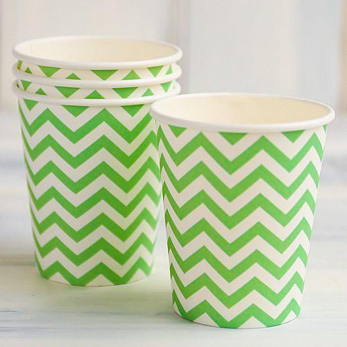 abcJoy πράσινα chevron χάρτινα ποτήρια (12-pack)