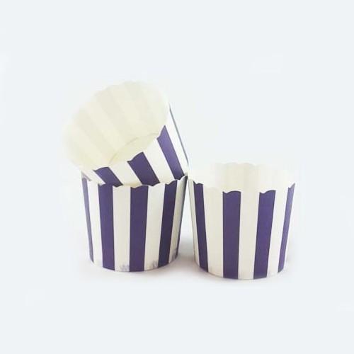 Θήκες Για Cupcakes Ριγέ Μωβ 25pcs