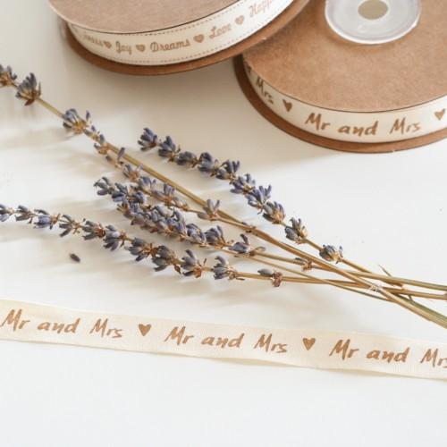 """Κορδέλα """"Mr and Mrs"""" Υφασμάτινη (1,5mm)"""