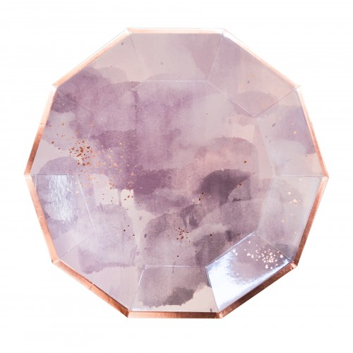 Χάρτινα Πιάτα Σε Λεβάντα Και Ροζ Χρυσό - Amethyst By Harlow & Grey